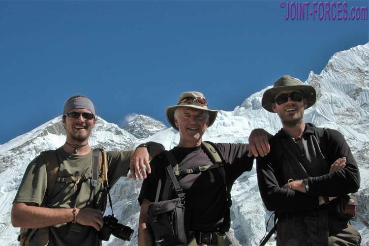 A picture that makes me proud – myself with my two sons – Bruce and I are  wearing our Tilley hats and behind us is Mount Everest  © MG  0b349ab094ae