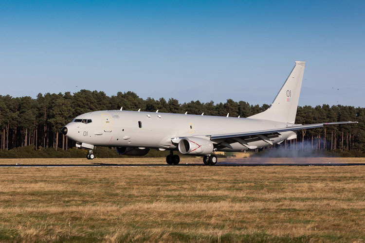RAF P-8A landing at Kinloss [Crown Copyright: Sgt Ashley Keates]