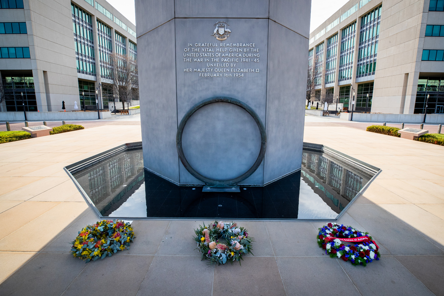 Wreaths laid at a ceremony to mark the 70th anniversary of the ANZUS Treaty, at the Australian-American Memorial, Russell Offices in Canberra [©ADoD: Kym Smith]